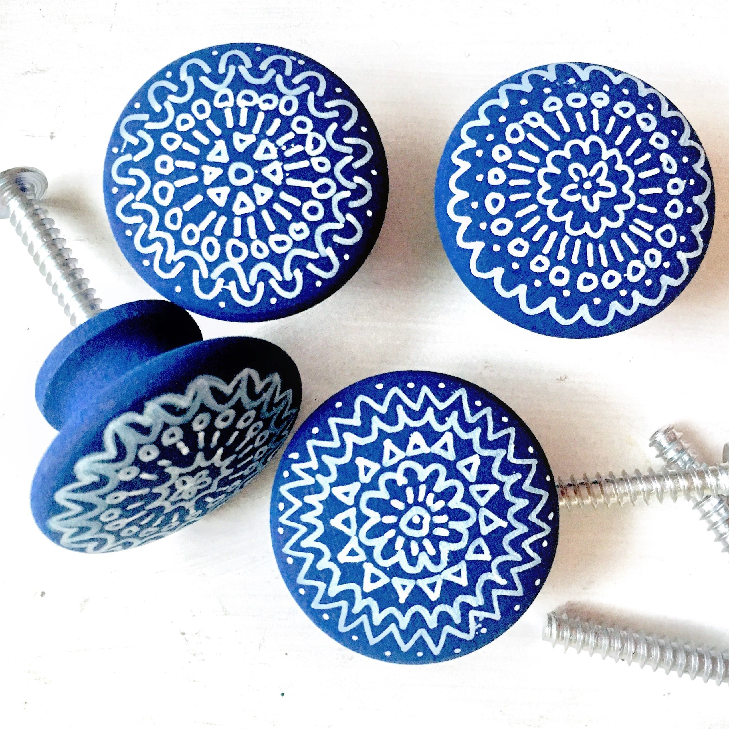 Set of 12- Hand-painted wooden knobs for cabinets, dresser, drawer pulls, shutters, boxes, boho mandala design, any color custom, bohemian/cottage/coastal/shabby chic (12 knobs)