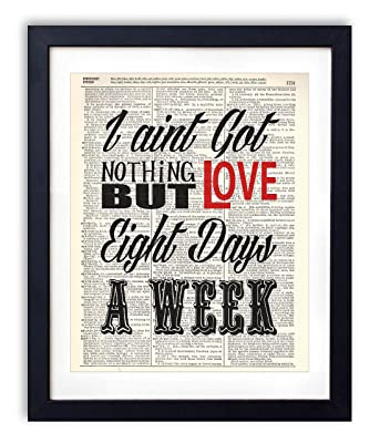 Aint Got Nothing But Love Typography Quote Vintage Dictionary Art Print 8x10