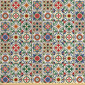 Ambesonne Moroccan Fabric by The Yard, Colorful Azulejo Pattern Portuguese Ornamental Abstract Floral Arrangements Leaves, Decorative Fabric for Upholstery and Home Accents, 1 Yard, Beige Blue