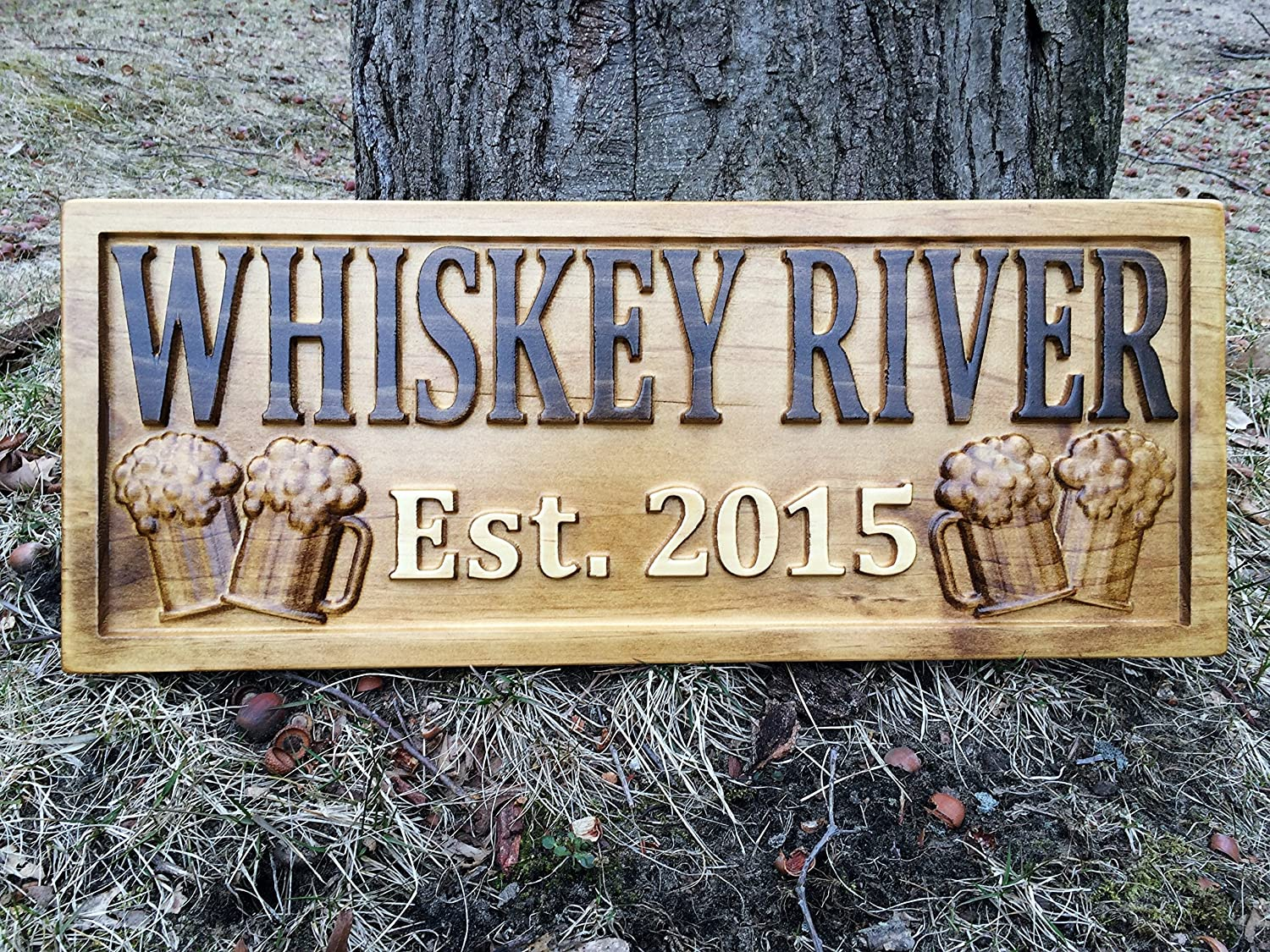 Michigan Man Cave Signs : Amazon.com: personalized bar sign custom carved wood