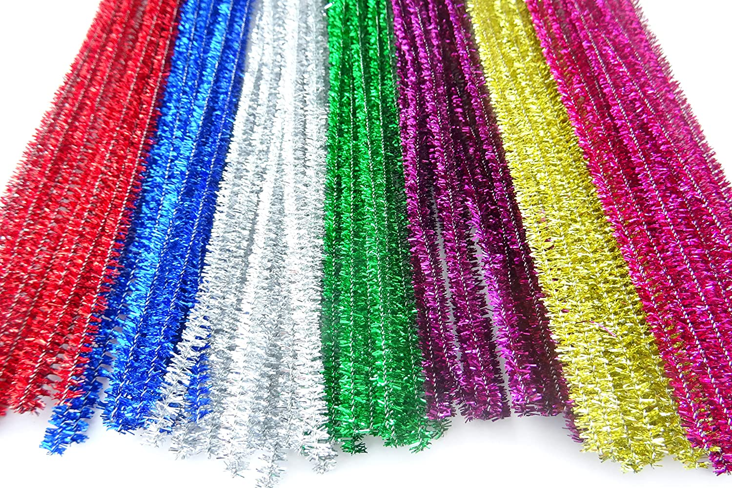 100 x Tinsel Craft Pipe Cleaners Stems - Size 12