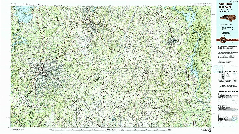 Amazon.com : YellowMaps Charlotte NC topo map, 1:100000 Scale, 30 X ...