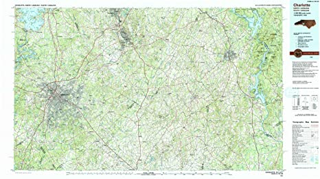 Amazon.com : YellowMaps Charlotte NC topo map, 1:100000 Scale, 30 X ...