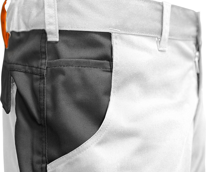Maler Shorts Berlin Pro Stretch Sommer Malerhose Wei/ß-Schwarz Made in EU strongAnt/® M/änner Arbeitshose kurz