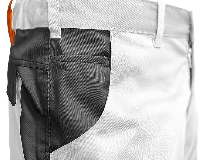 strongAnt® KERMEN Uomo Pittore-Pantaloncini da Lavoro Berlin da imbianchino 260gr Bianco-Blu per LEstate