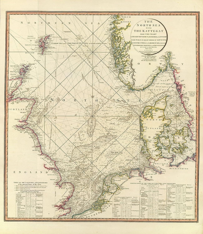 North Sea Europe Map.1796 Old Historical Nautical Map Of North Sea United Kingdom Europe