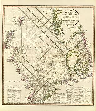 1796 Old Historical Nautical Map of North Sea United Kingdom Europe ...