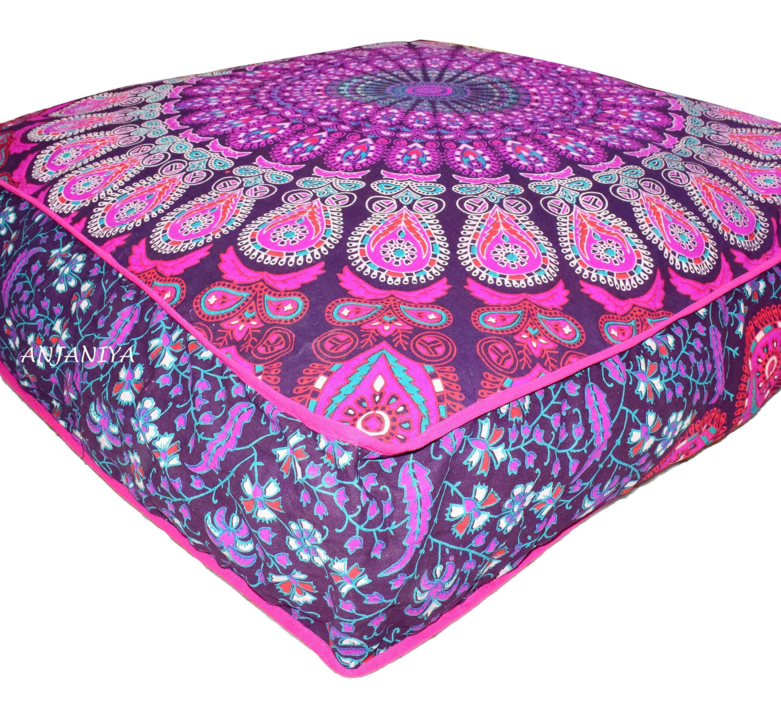ANJANIYA 35''x35'' Mandala Bohemian Yoga Meditation Large Square Dog Bed Outdoor Floor Pillow Cover Couch Seating Cushion Throw Hippie Decorative Boho Indian Ottoman (Pink)