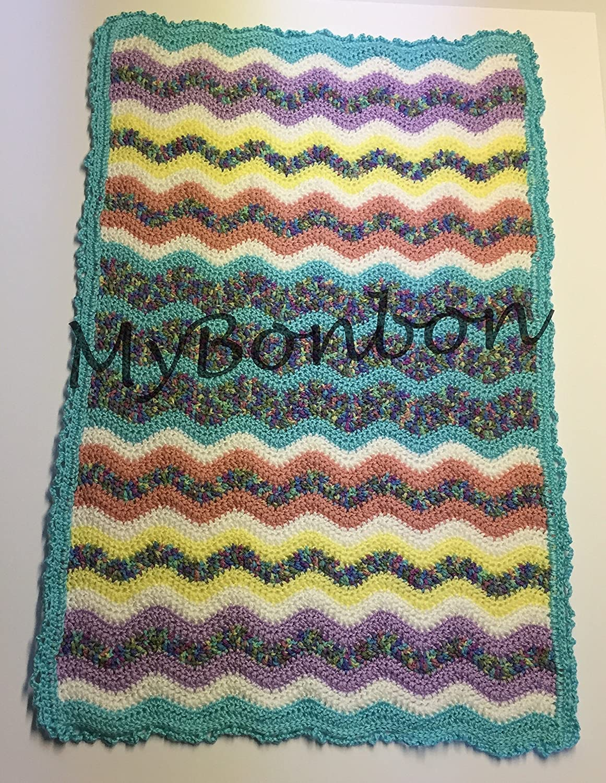 Amazon Crochet Ripple Chevron Baby Blanket In Fun Colors Handmade