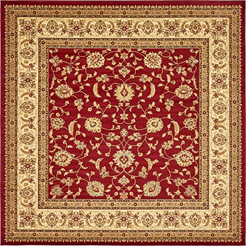 Unique Loom Voyage Collection Traditional Oriental Classic Red Square Rug 10 0 x 10 0