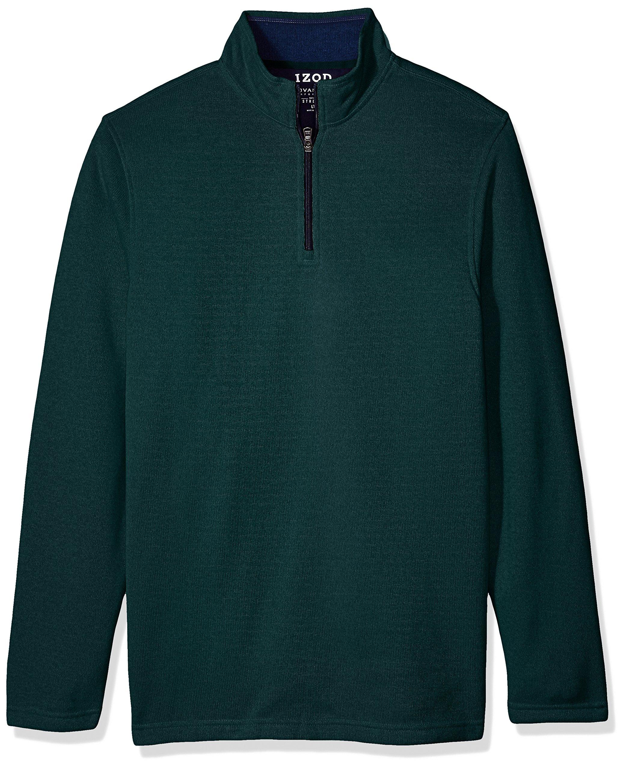 IZOD Men's Big Saltwater Solid 1/4 Zip Sweater, June Bug Heather, Large Tall