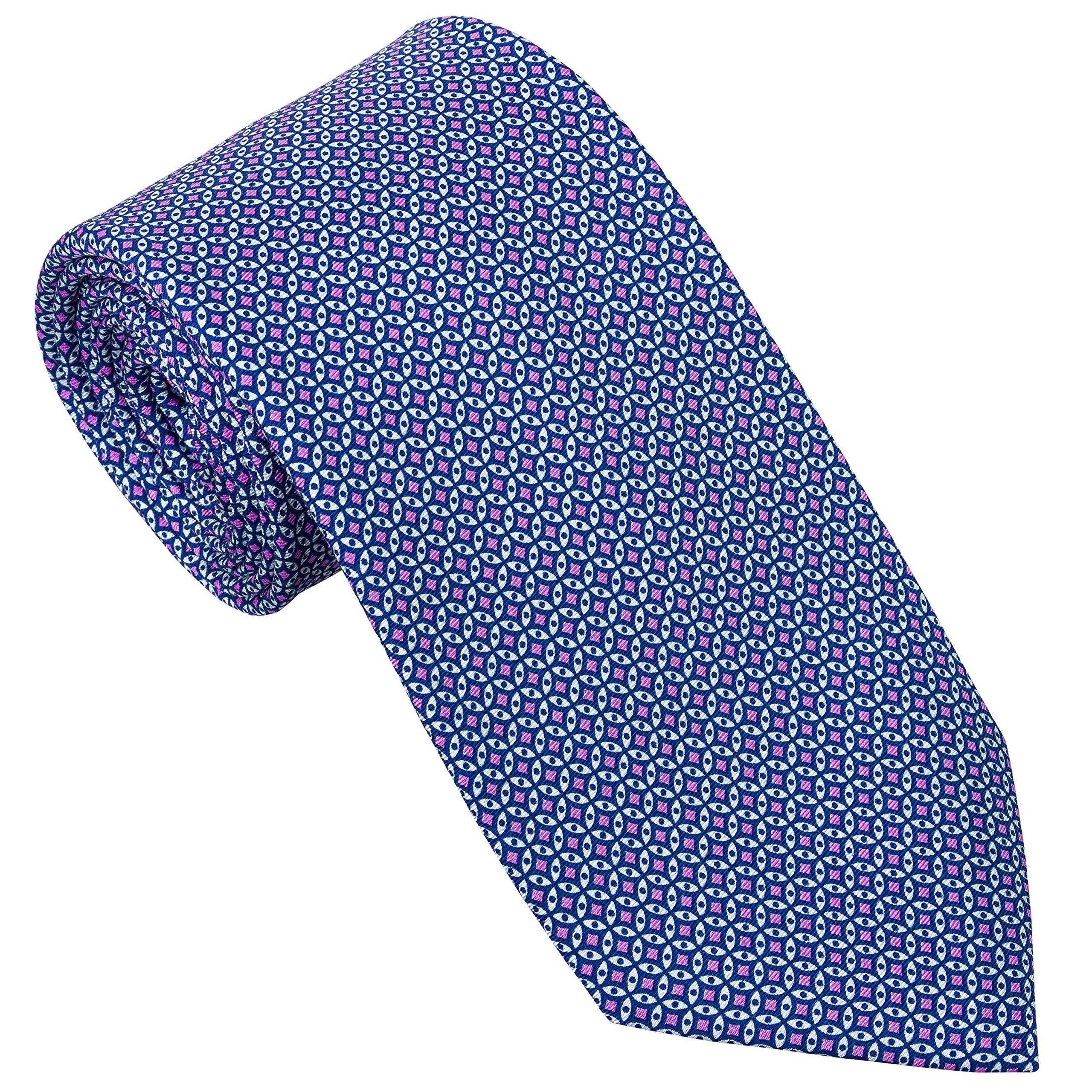 Sebastien Grey Men's 7-Fold Silk Tie (Lavender Navy Stained Glass)