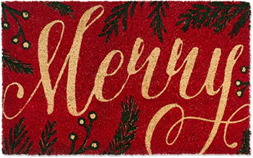 BABY ITS COLD OUTSIDE Merry Christmas Coir Painted Doormat Decor Door Mat Front Entry Way Natural Farmhouse Holiday Porch Home