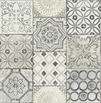 Moroccan Tile Wallpaper In Blue Gray Cream