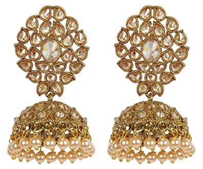 1afea3bb2 MUCH-MORE Indian Gorgeous Style Gold Plated Party Wear Polki/Jhumka Earring  Jewelry for