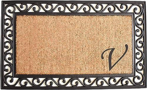 Home More 104021830 Versailles Monogram Doormat 18 x 30 , Natural Black Letter V