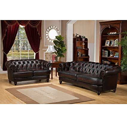 Amax Leather Mario 100% Leather Sofa And Loveseat, Burgundy Brown