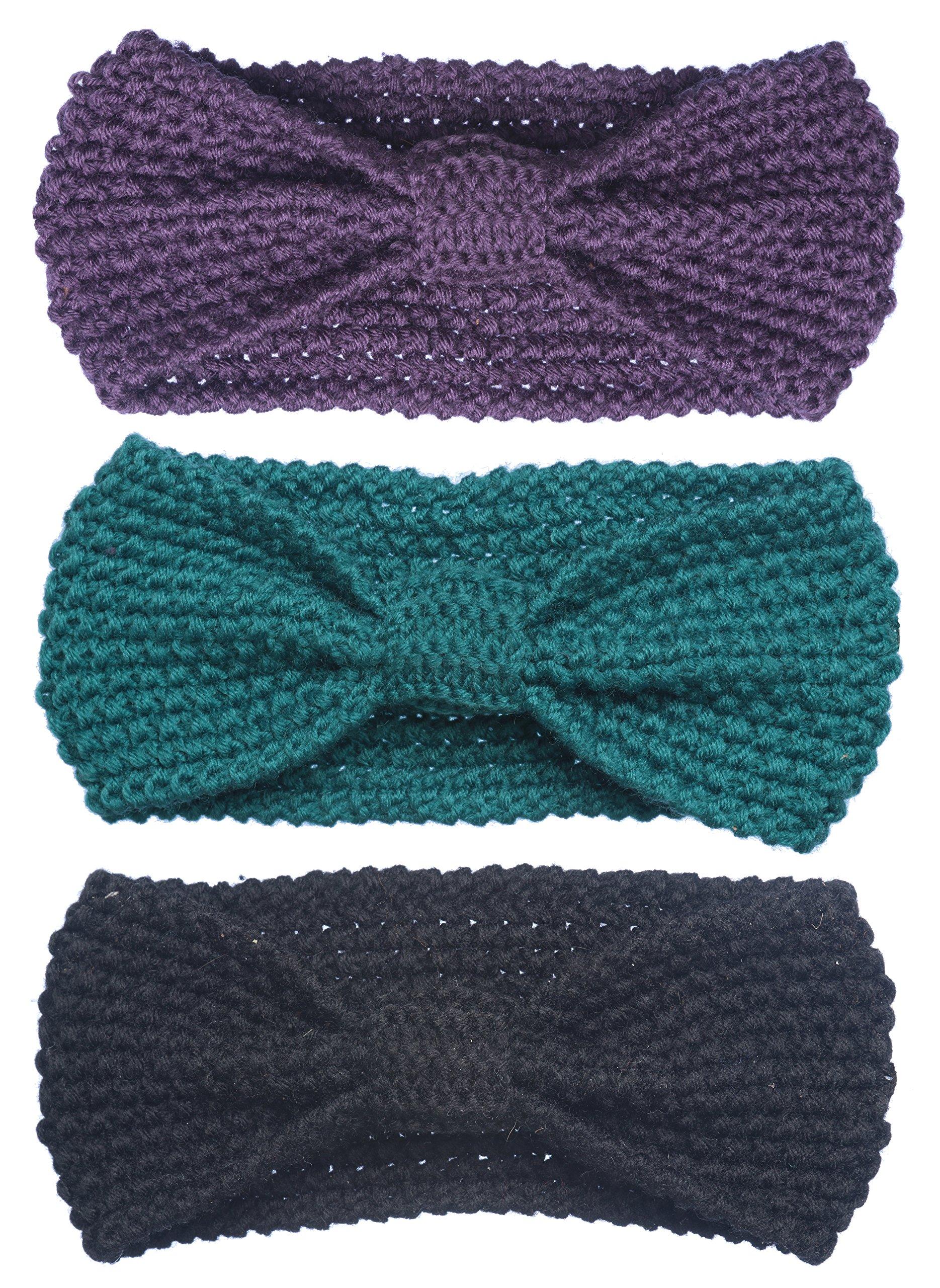 Bertelli 3 Pack Womens Winter Knit Headband & Hairband Ear Warmer (Blue-Violet-Black)