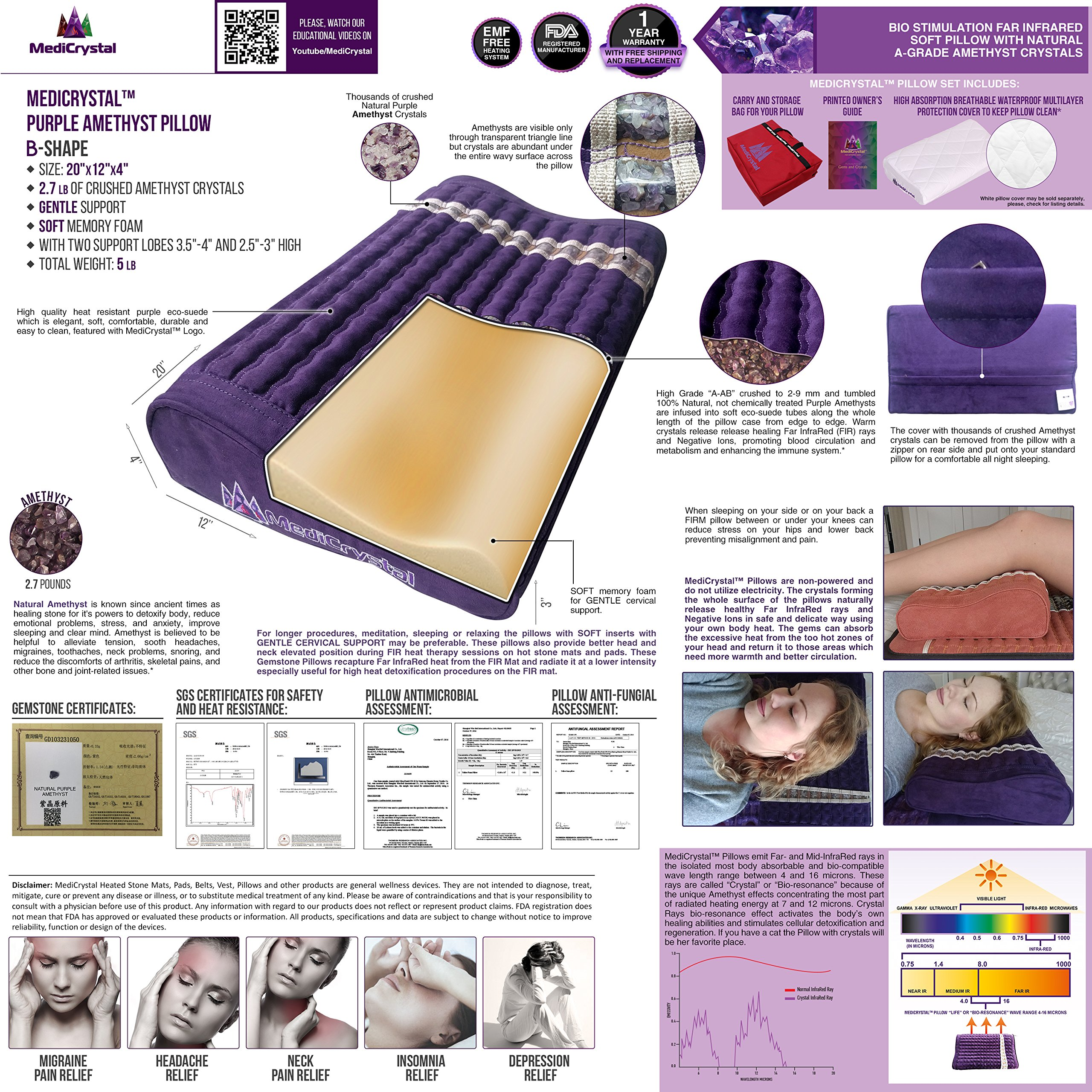 Far Infrared Amethyst Mat Pillow - Emits Negative Ions - Crystal FIR Rays - 100% Natural Amethyst Gemstones - Non Electric - For Headache and Stress Relief - To Sleep Better - GENTLE support - Purple by MediCrystal (Image #9)