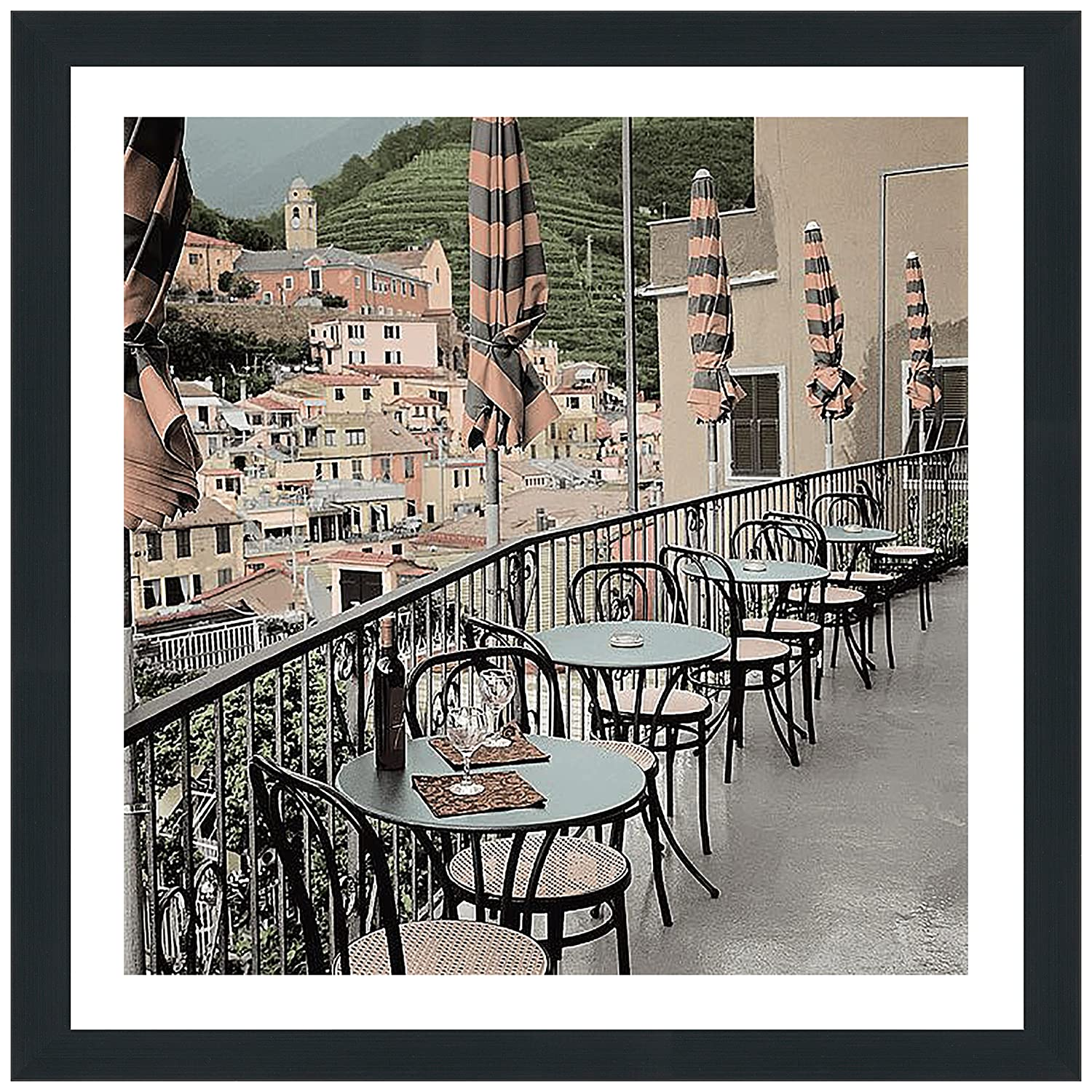 Picture Perfect International Alan Blaustein Liguria Caffe #2' Framed Plexiglass Décor Wall-Decor 39.5' x 39.5' x 0.75'