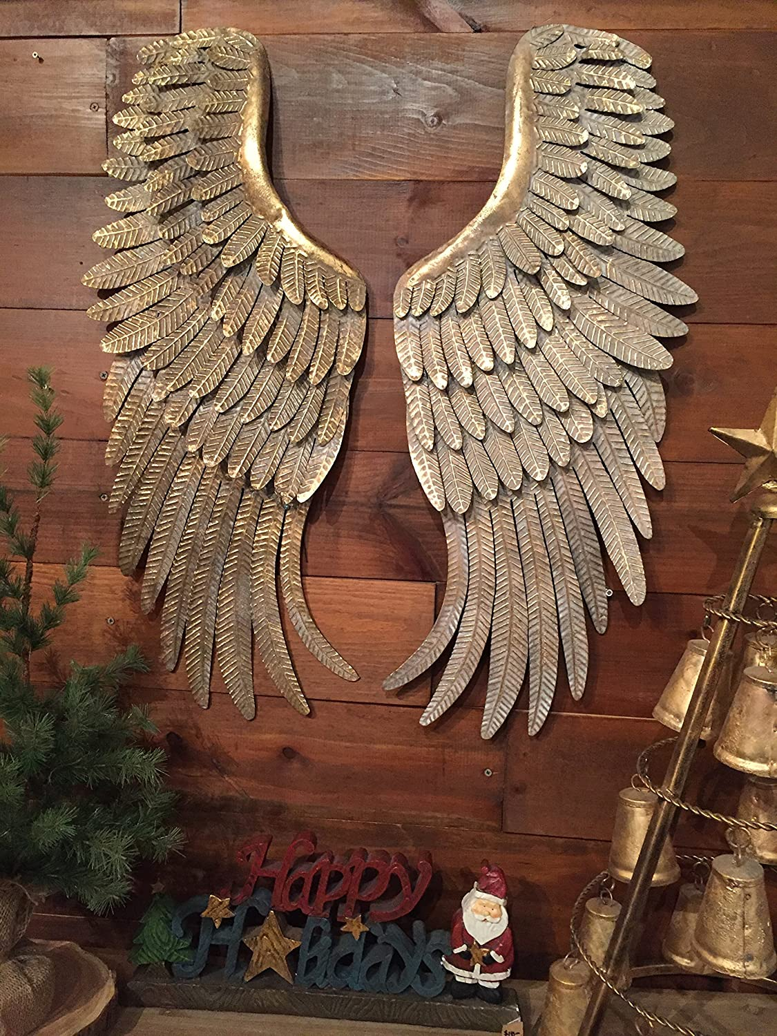 Wood Set of 2 Beautiful Angel Wings Wall Decor Vintage Antique Look Shabby Chic Home Decoration