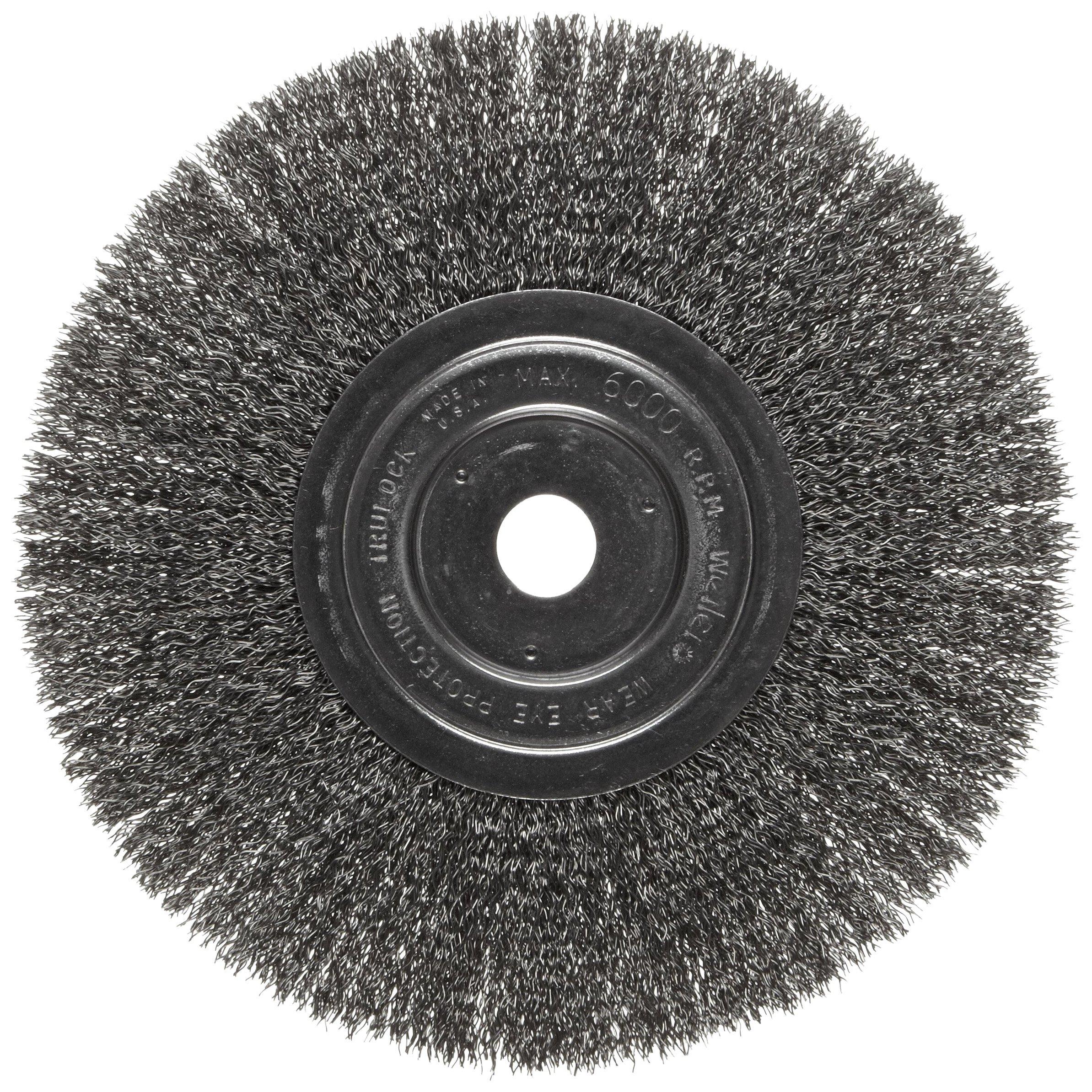 Weiler Trulock Narrow Face Wire Wheel Brush, Round Hole, Steel, Crimped Wire, 8'' Diameter, 0.014'' Wire Diameter, 3/4'' Arbor, 2-1/16'' Bristle Length, 3/4'' Brush Face Width, 6000 rpm