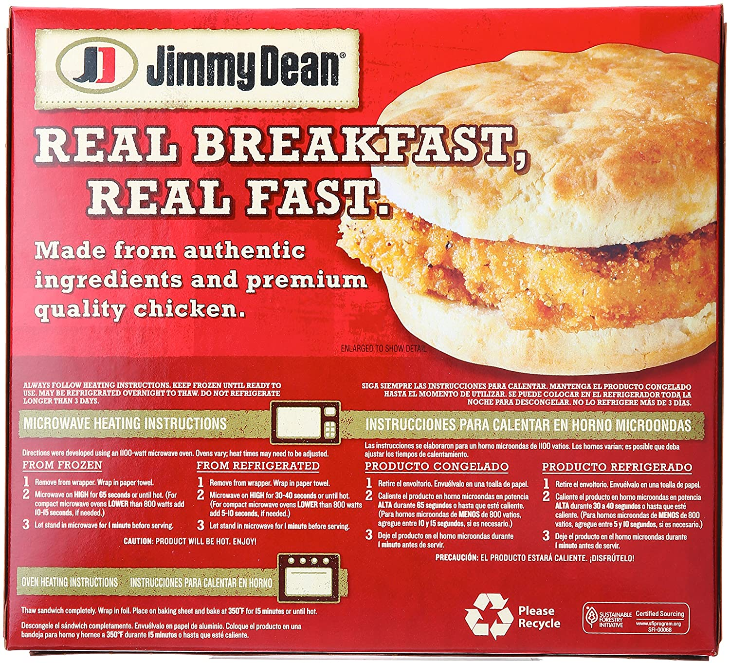 Jimmy Dean, Southern Style Chicken Biscuit Sandwiches, 4 ct (frozen): Amazon.com: Grocery & Gourmet Food