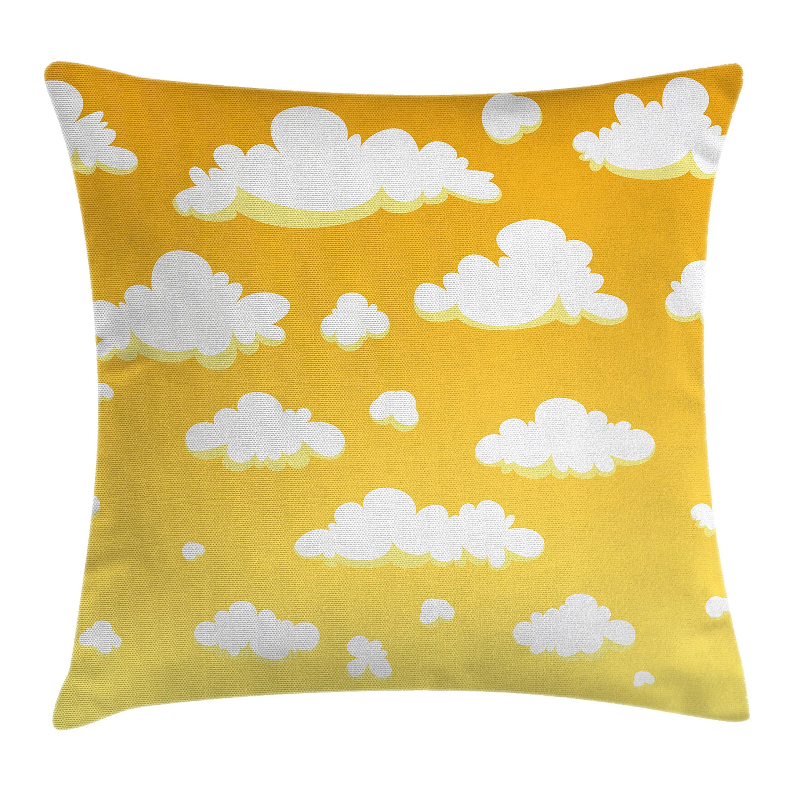 Ambesonne Yellow and White Throw Pillow Cushion Cover, Kids Room Theme Cartoon Style Clouds in The Sky Atmosphere Warm Climate, Decorative Square Accent Pillow Case, 18 X 18 inches, Yellow White