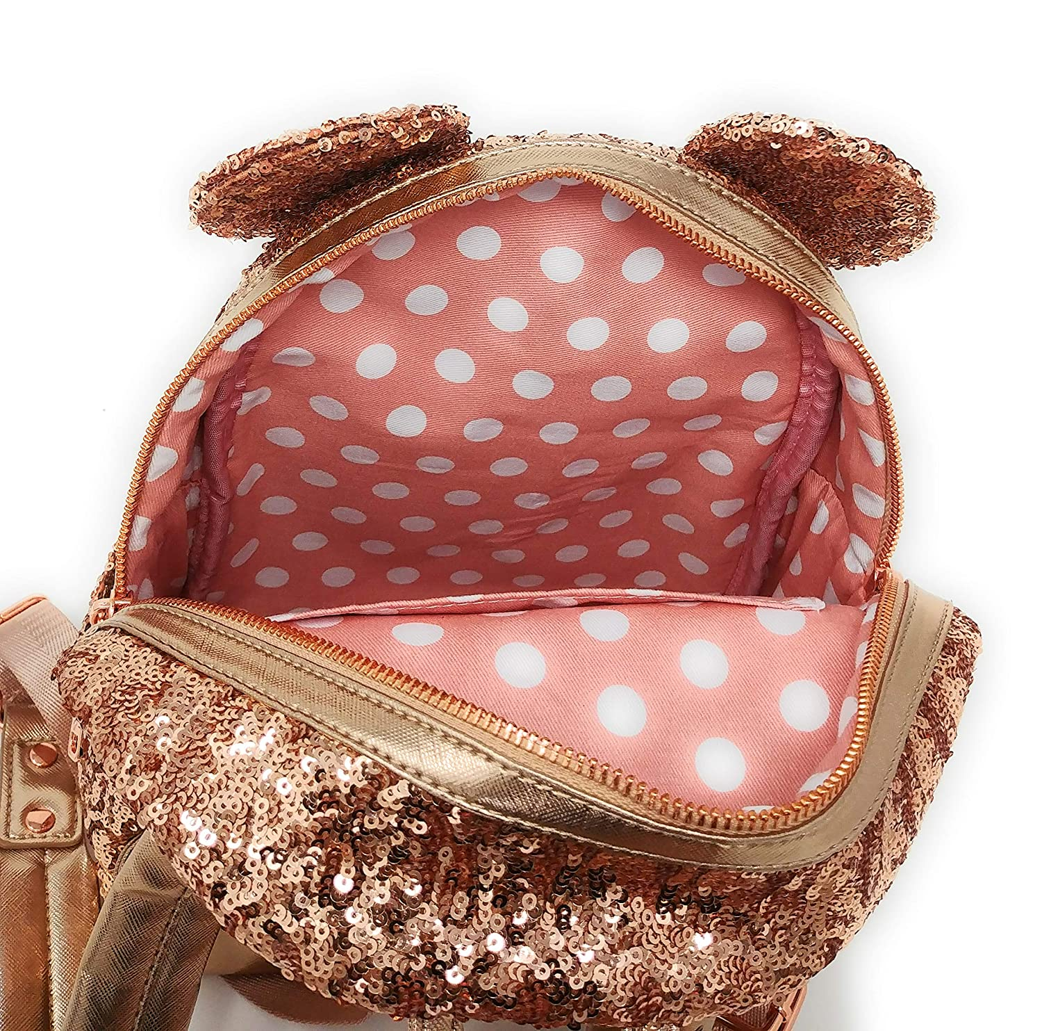 Disney Loungefly Rose Gold Backpack Sold Out Hard To Find Last One New Minnie Mouse Rose Gold Ears Disney Park