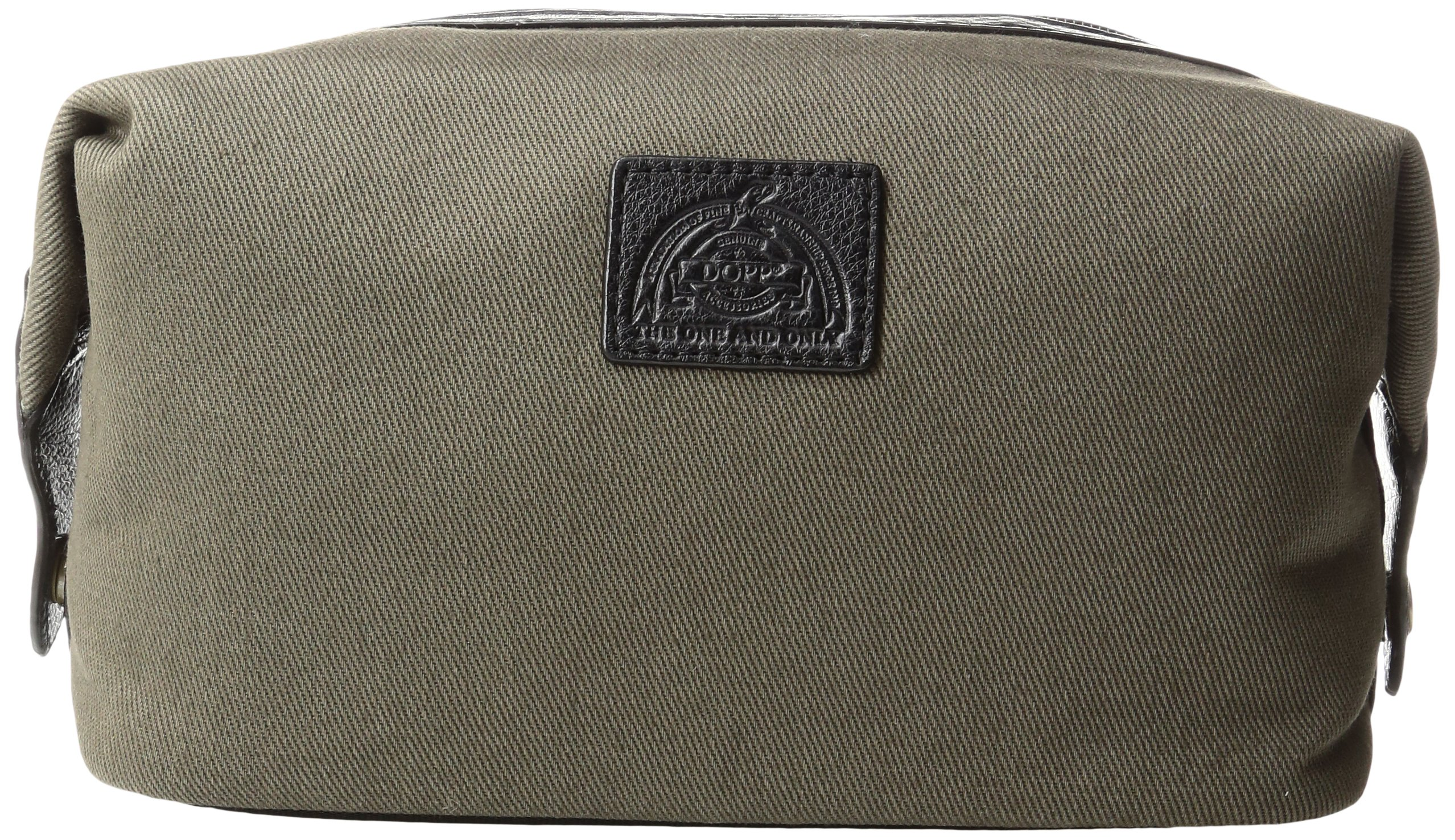 Dopp Men's Hampton Carry-All Kit-Cotton Twill with Leather Trim, Olive