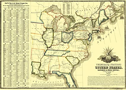 Old North America Map.Amazon Com Old North America Map Telegraph Stations Lines In Us