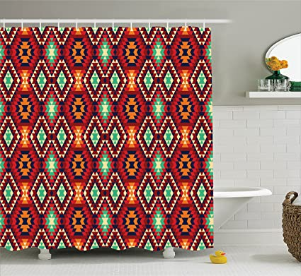 0e440e50cf Ambesonne Native American Shower Curtain, Geometric Triangle Aztec Tribal  Motif Zig Zag Folk Art Style Ethnic Print, Fabric Bathroom Decor Set with  ...