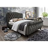 furniture world monet upholstered sleigh bed with tufted headboard and footboard full gray