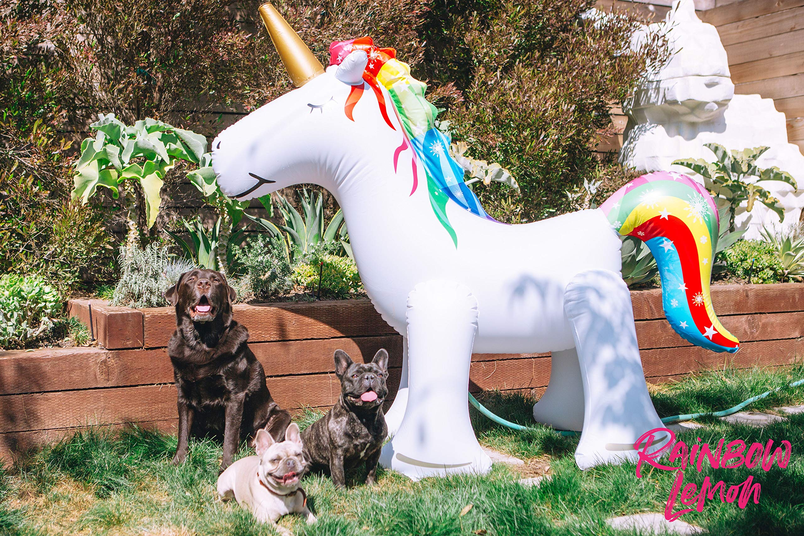 Rainbow Lemon Giant Inflatable Unicorn Sprinkler 8