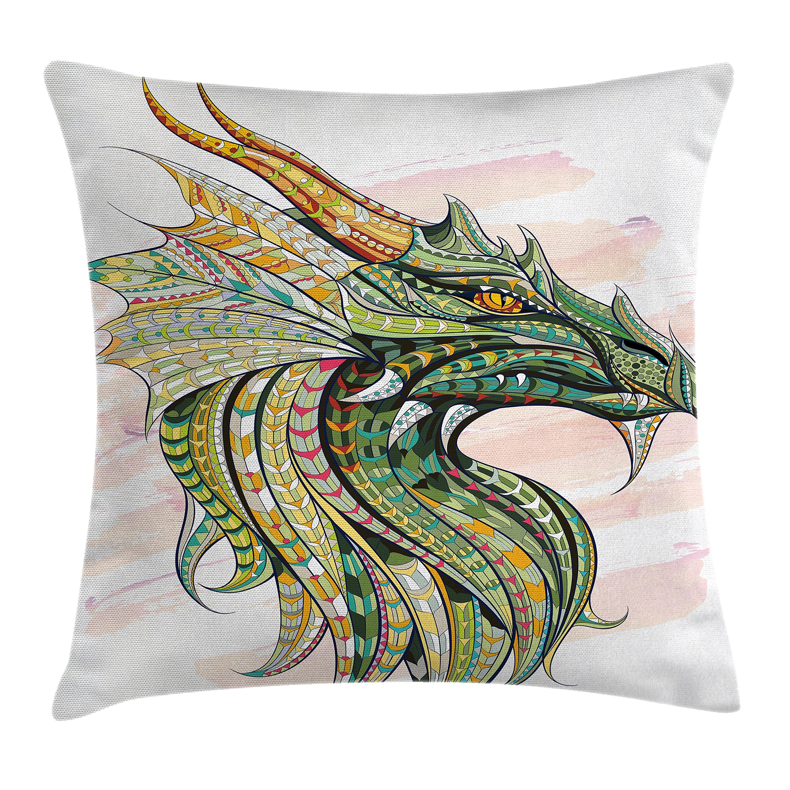 Ambesonne Celtic Decor Throw Pillow Cushion Cover, Head of Legend Dragon with Ethnic African Grunge Backdrop Myth Celtic Art Design, Decorative Square Accent Pillow Case, 16 X 16 Inches, Multi