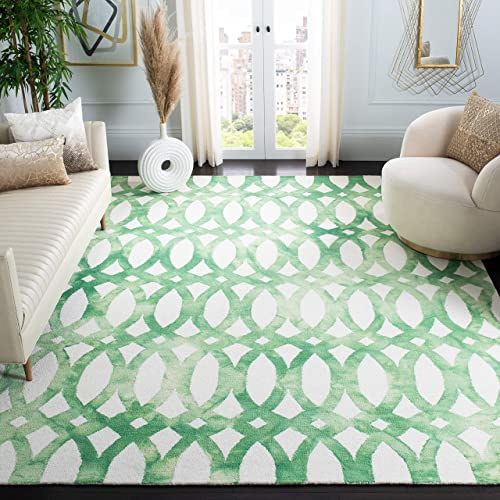 Safavieh Dip Dye Collection DDY675B Handmade Geometric Watercolor Ivory and Green Wool Area Rug 8' x 10'