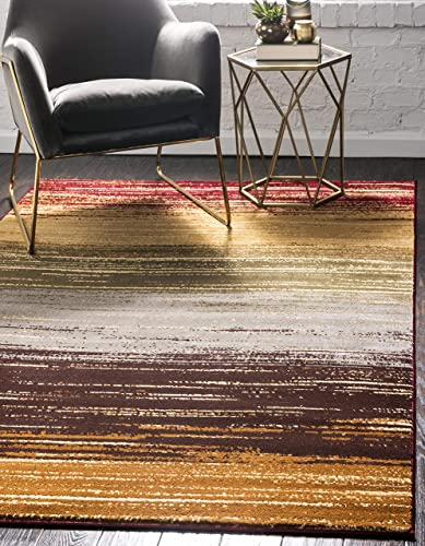 Unique Loom Barista Collection Modern Multi Striped Contemporary Gradient Beige Area Rug 9' 0 x 12' 0