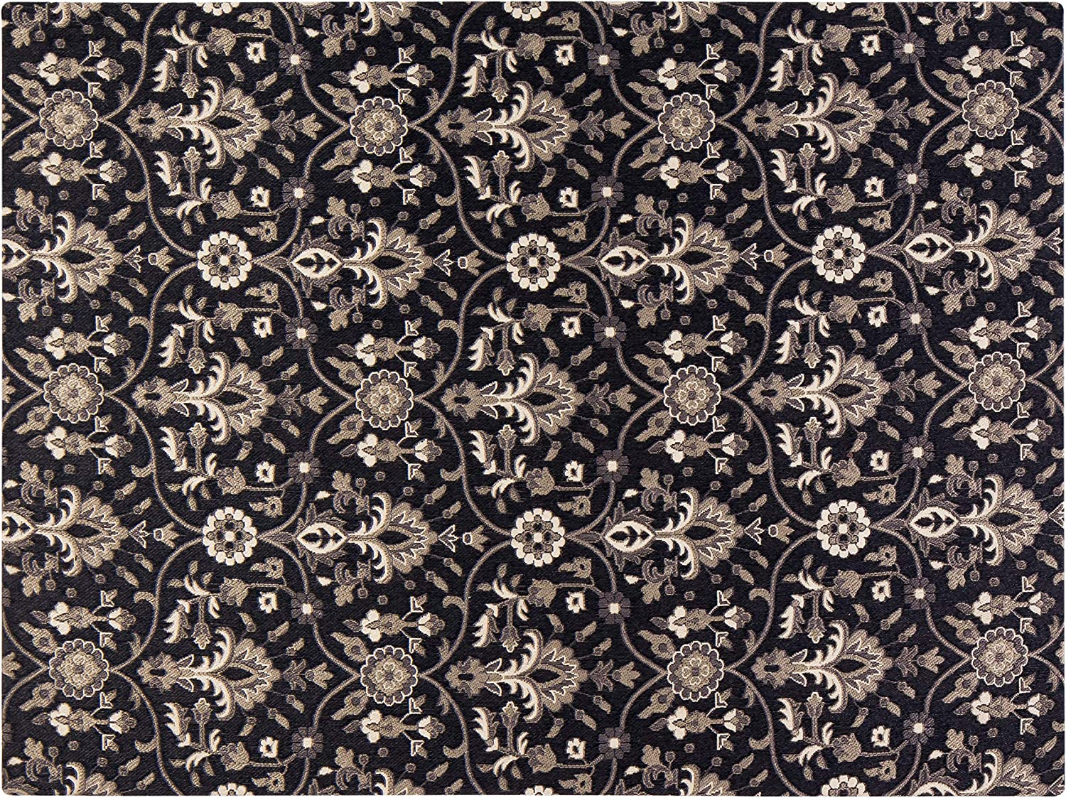 Anji Mountain Chair Mat Rug d Collection, 1 4 Thick – For Low Pile Carpets Hard Surfaces, Alhambra , Black Floral Print