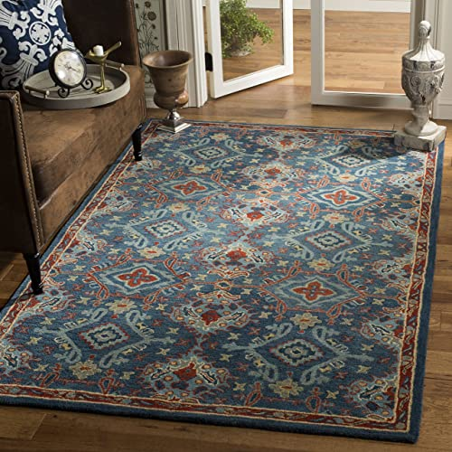 Safavieh Heritage Collection Blue and Multi Premium Wool Area Rug, 5 x 8 ,
