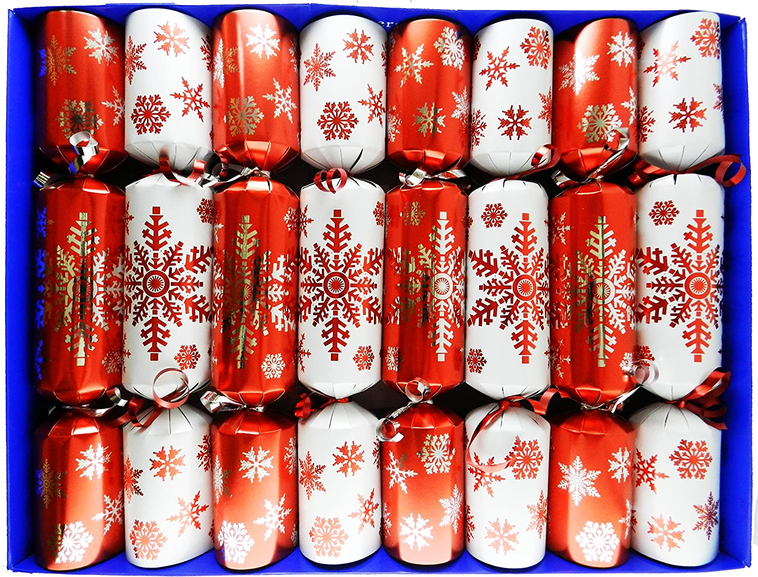 Fill Your Own Christmas Crackers - Box of 8 Crackers in a Red and White Snowflake Design by Crackers Ltd (Cat F1)