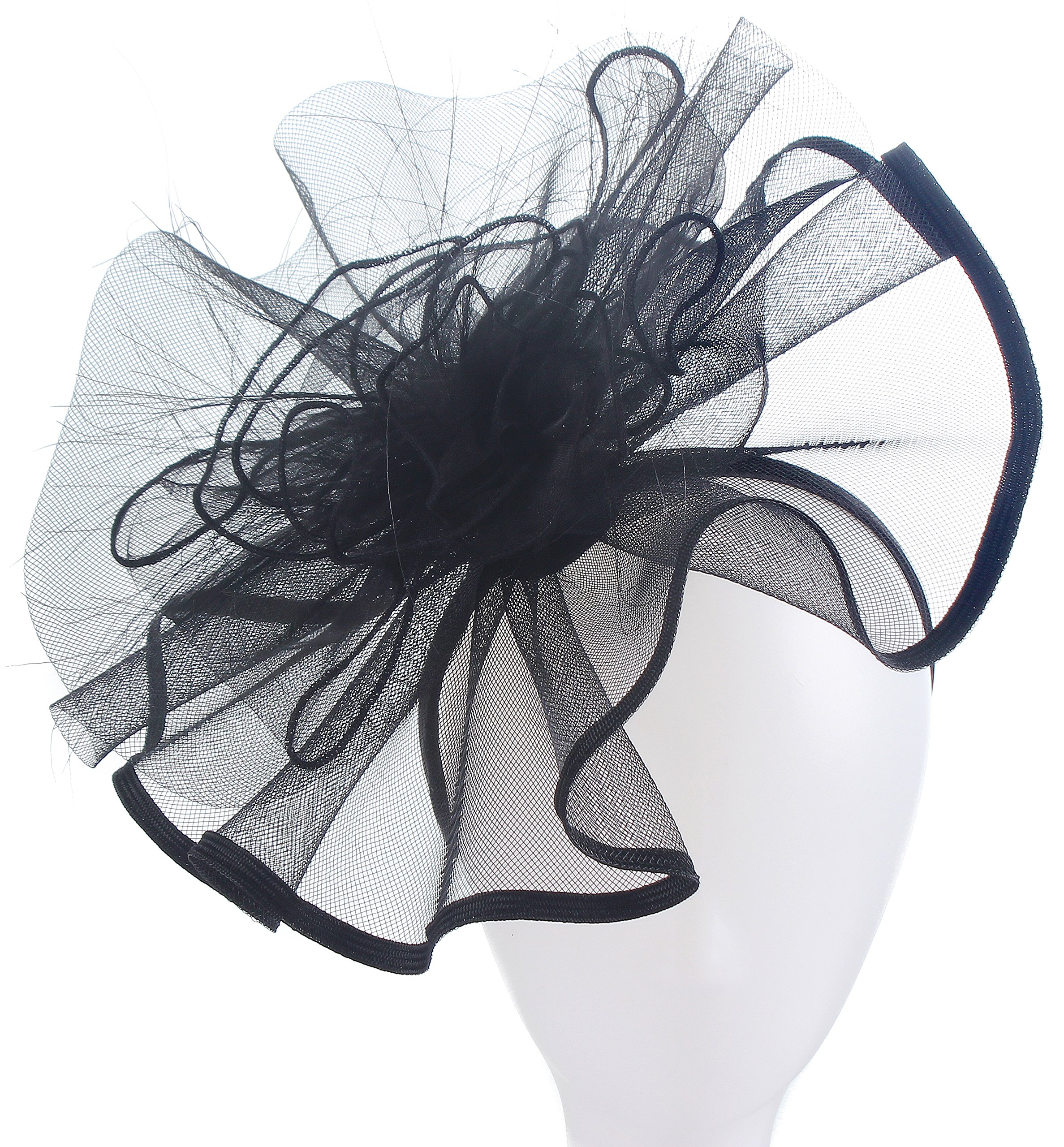 Fascinators Hats for Women Big Mesh Flower on a Hairband Tea Party Hat for Women (Black)