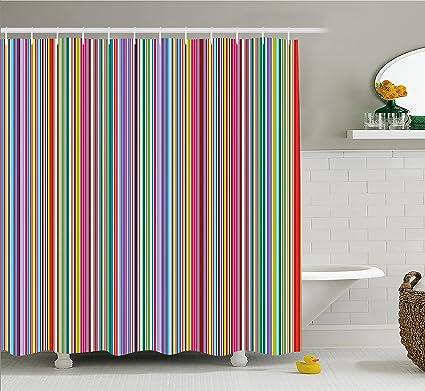 Lunarable Striped Shower Curtain By Colorful Vertical Stripes Geometric Arrangement Abstract Ornamental Line Desgin
