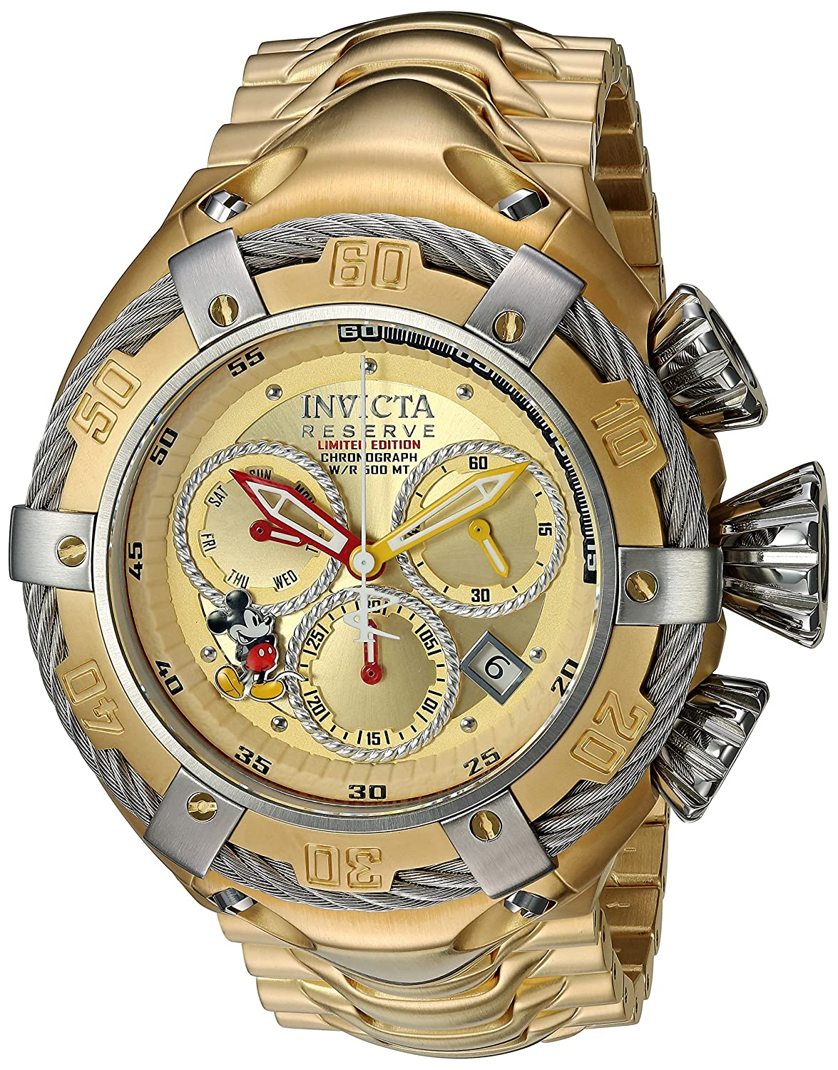 Invicta Men s Disney Limited Edition Quartz Watch with Stainless-Steel Strap, Gold, 29 Model 24659