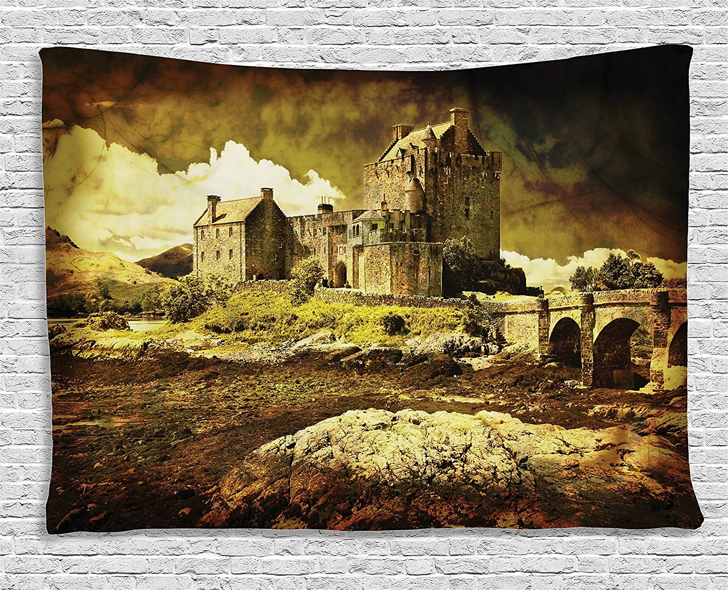 Amazon.com: Ambesonne Medieval Decor Tapestry, Old Scottish Castle ...