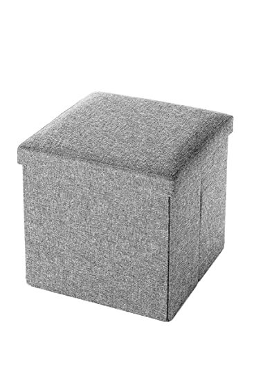 Folding Wooden Storage Cube / Ottoman Foot Rest 15 Inches, Gray Linen