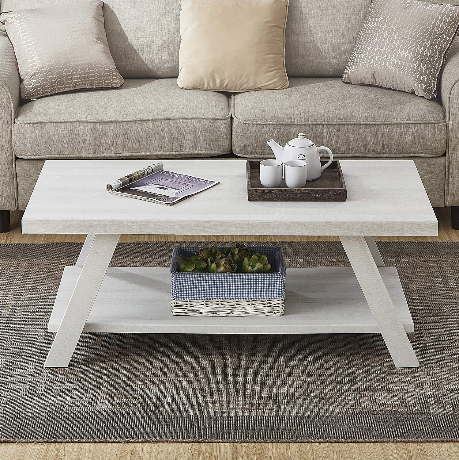 Roundhill Furniture Athens Contemporary Wood Shelf Coffee Table, White