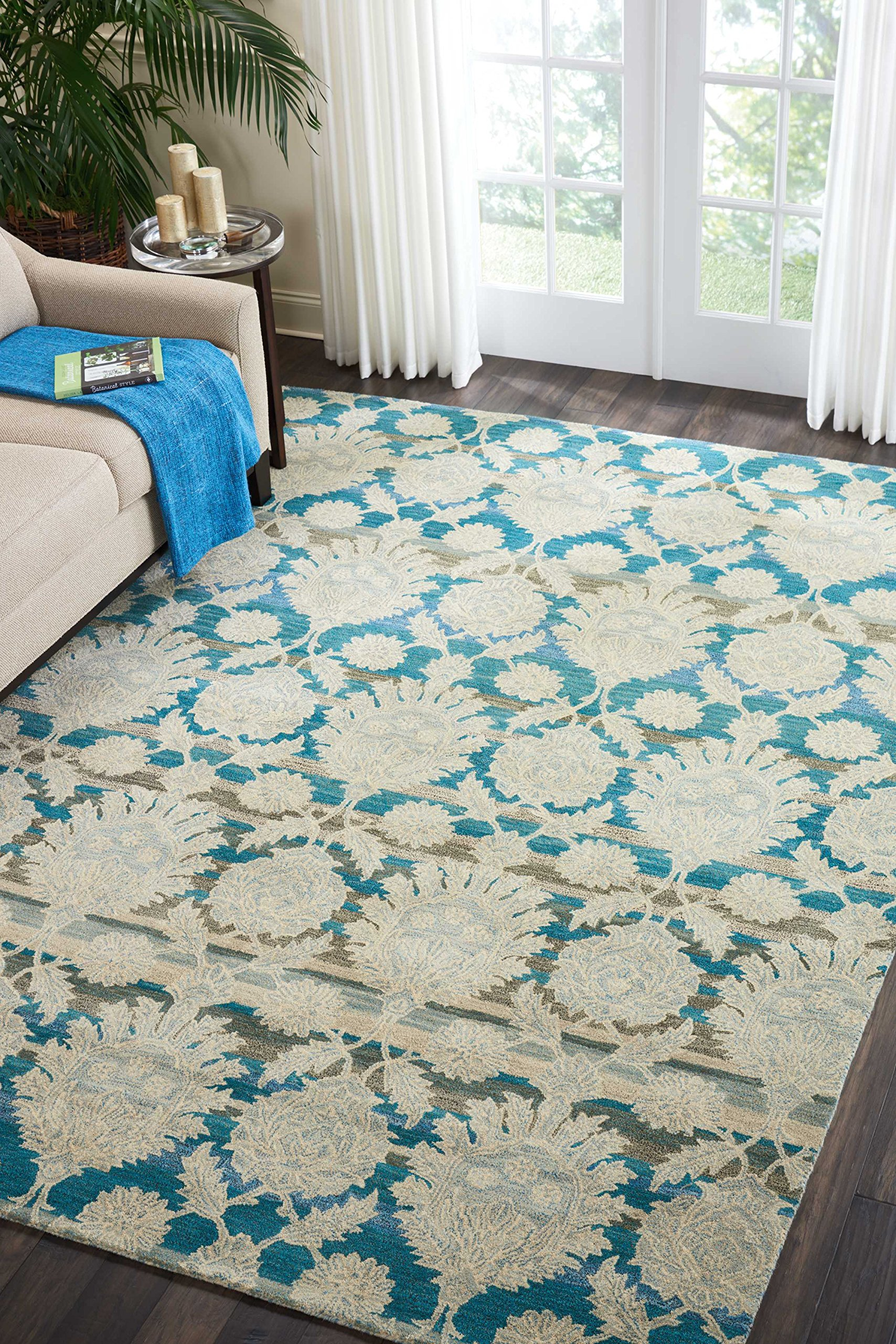 Nourison IH91 India House Area Rug, 8'X10'6'', IVORY/TEAL by Nourison (Image #2)