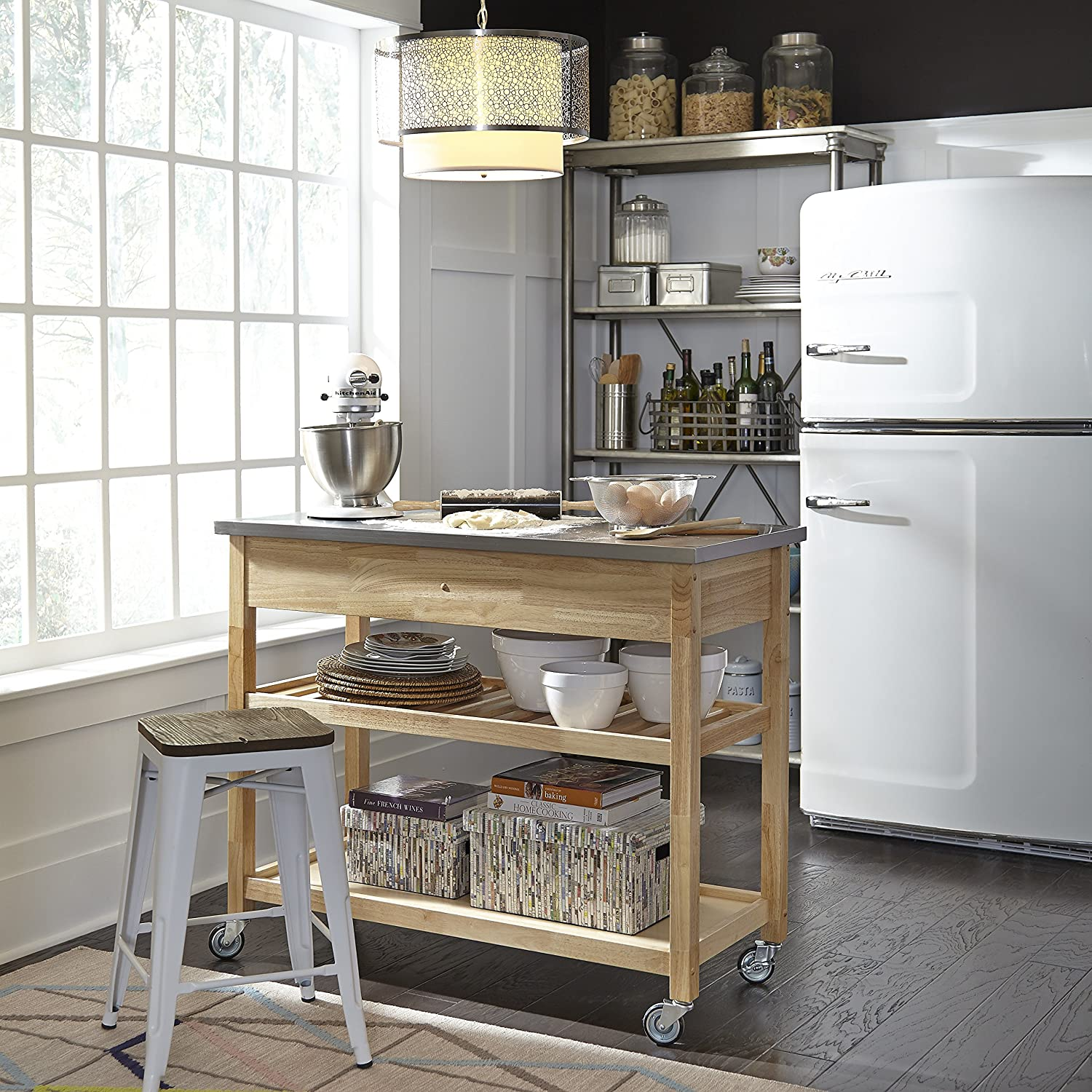 Home Styles Natural Designer Utility Cart with Stainless Steel Top ...
