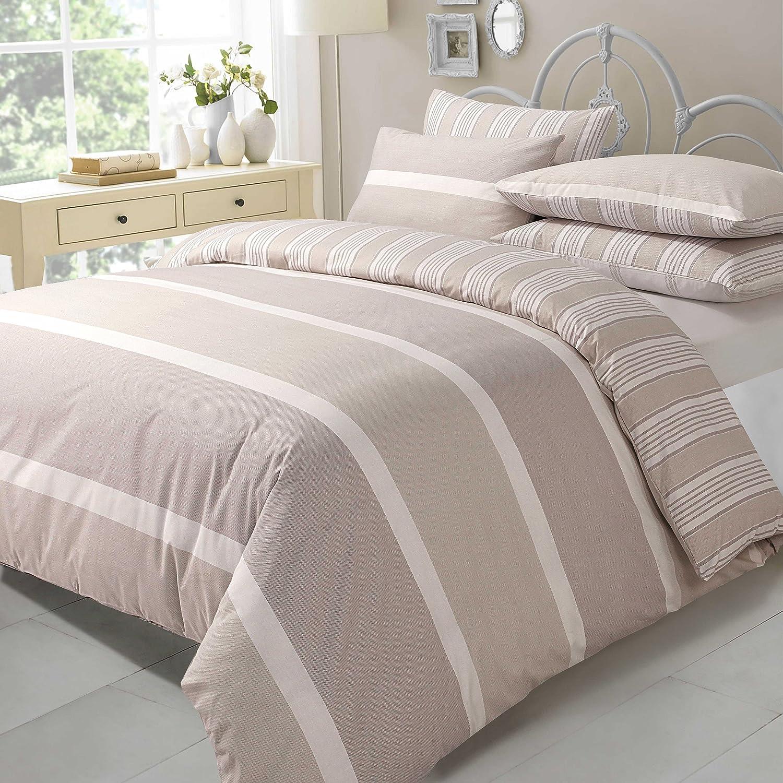 AdamLinens Luxury Duvet Quilt Cover + PillowCases Natural Eve design Double Size Adam Linens