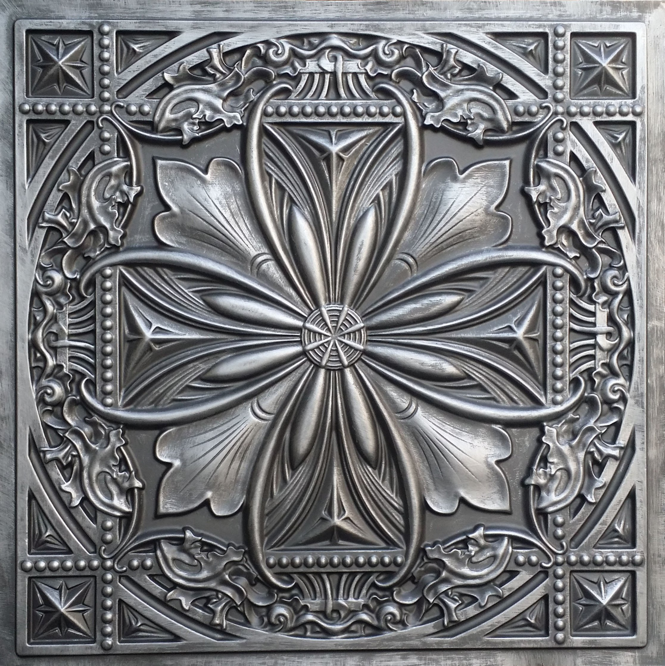 TalissaDecor Faux Tin Glue up/Drop in Ceiling Tile TD10 Aged Silver Pack of 10 2'X2' Tiles (~ 40 sq.ft). Easy to Install PVC Panels. Gorgeous Antique Vintage Look Ceiling. Great for DIY Backdrop.